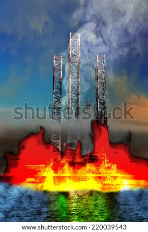 Burning Oil Rig on the sea - abstract view.