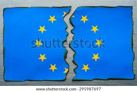 burnt fractured European flag background