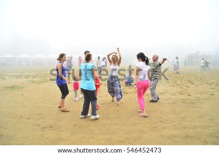 Bursa, Turkey-June 30, 2013: People celebrating spring's coming by enjoying and dancing