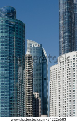 BUSAN, SOUTH KOREA - SEPTEMBER 07: We've the Zenith residential towers SEPTEMBER 07, 2014 in Busan, South Korea.  I'PARK Towers of Busan.