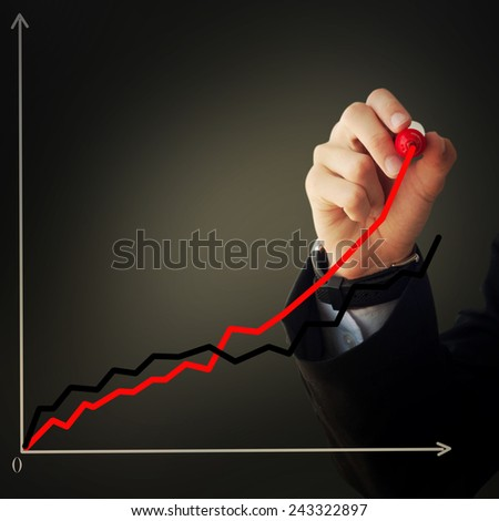 Business and advertisement concept. Close up of businessman drawing a graphic.