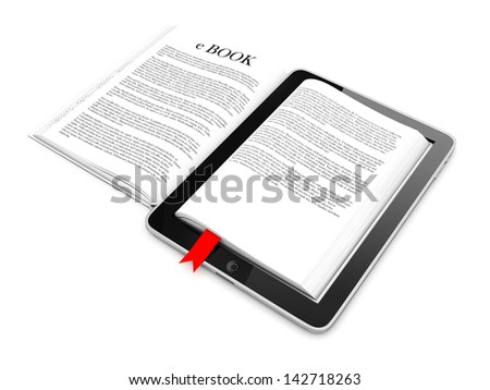 Business c-Book Paper on tablet. Mobile device concepts 3D. isolated on White Background