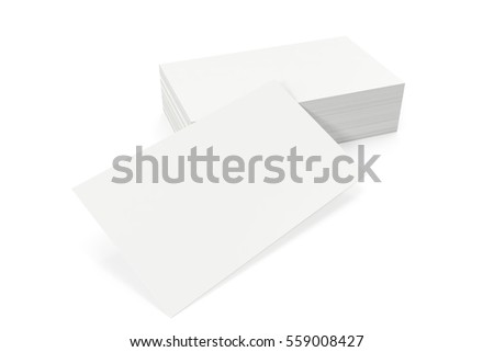 Business cards blank mockup, template, on white background, 3d rendering