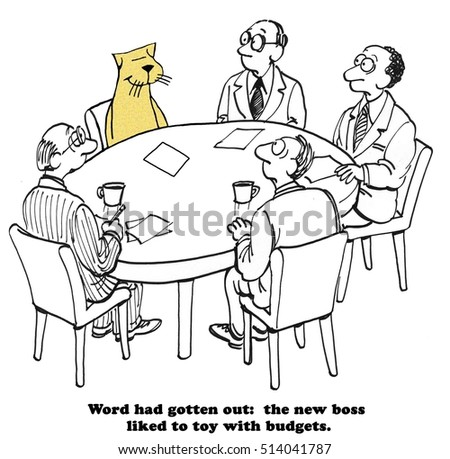 Business cartoon about a boss that likes to toy with the department budgets.