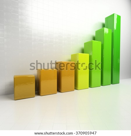 Business chart showing increase in sales. Close up of finance business graph. 3d render illustration