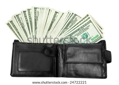 business concept. lot of  money with black wallet