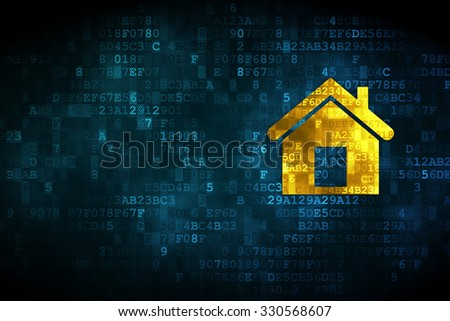 Business concept: pixelated Home icon on digital background, empty copyspace for card, text, advertising