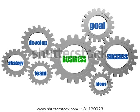 business concept words in 3d silver grey gearwheels