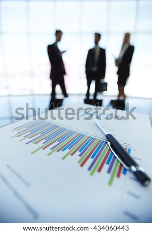 Business documents on the table at office