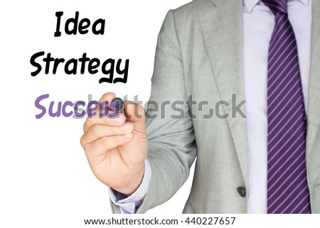 Business expert in grey suit writes the words idea strategy success on the screen
