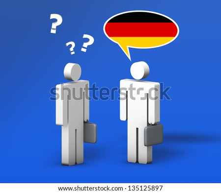 Business German concept with a funny conversation between two 3d people on blue background. The man with the flag of Germany on the speech cloud speaks a correct language, the other one no.