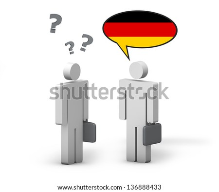 Business German concept with a funny conversation between two 3d people on white background. The man with the Germany flag on the speech cloud speaks a correct language, the other one no.