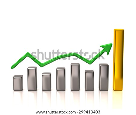 Business graph and chart on white background