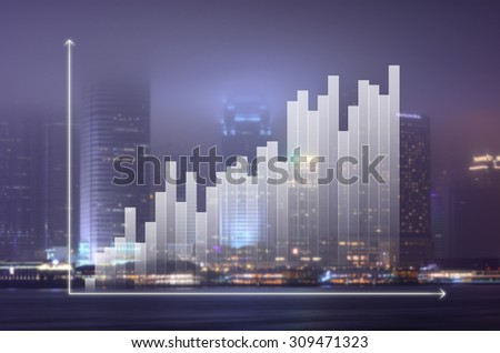 business graph on night modern city background