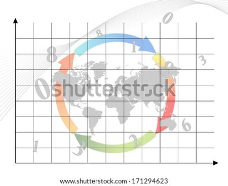 Business graph with arrows and map of world