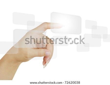 business hand pushing a button on a touch screen interface.