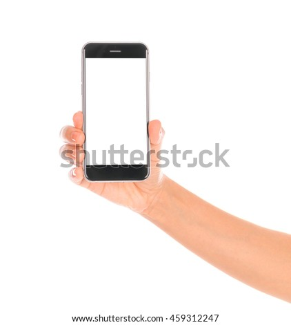 Business hand with mobile phone