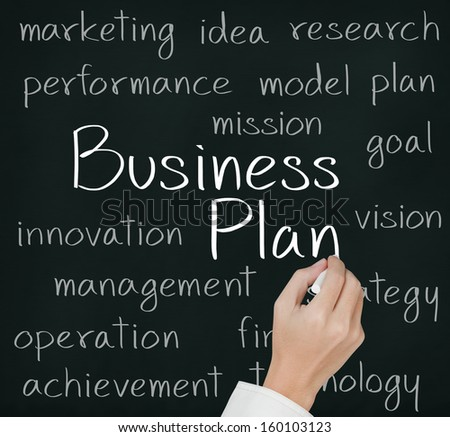 business hand writing business plan concept