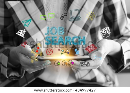 business holding a smart phone with JOB SEARCH text on black and white background ,business analysis and strategy as concept