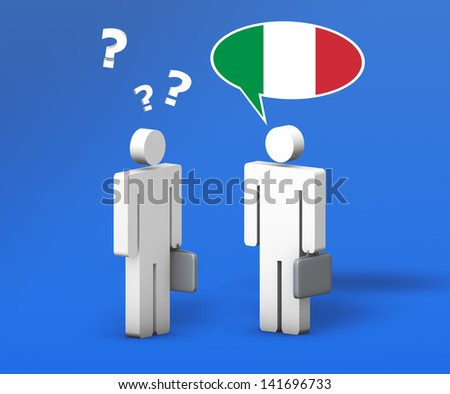 Business Italian concept with a funny conversation between two 3d people on blue background. The man with the flag of Italy speaks a correct language, the other one no.