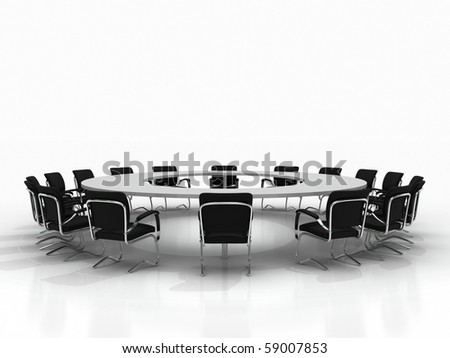 Business large meeting. Conference table and chairs isolated on white background
