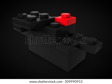 Business Leadership Strategic and Competitive Edge Concept Metaphor with Toy Plastic Blocks isolated in black Background