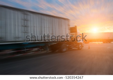Business Logistics concept, Industrial Container Cargo  for Logistic Import Export with blurred subject