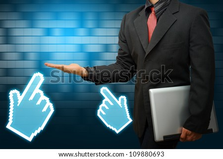 Business man and digital hand