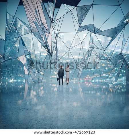 Business man and woman standing in abstract interior with shiny concrete floor and large polygonal window with night city view. 3D Rendering