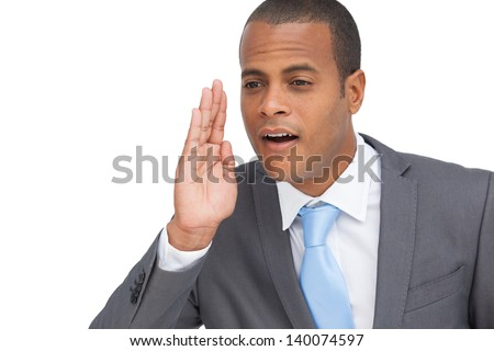 Business man calling for someone gesture on white background
