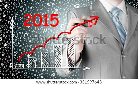 business man drawing growth graph for year 2015