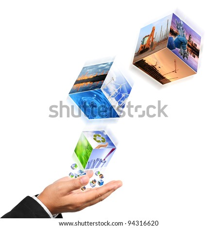 Business man hand holding with recycle symbol image , industry image and buildings image isolated on white