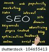business man hand writing internet marketing concept of search engine optimization ( SEO ) - stock photo