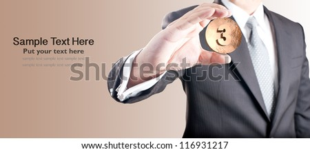 Business man holding bronze medal. Third prize concept.