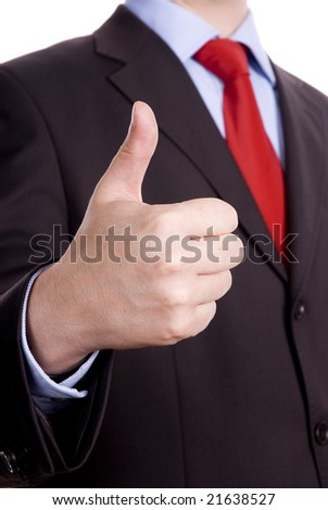 Business man in dark suit and red tie giving ok gestures