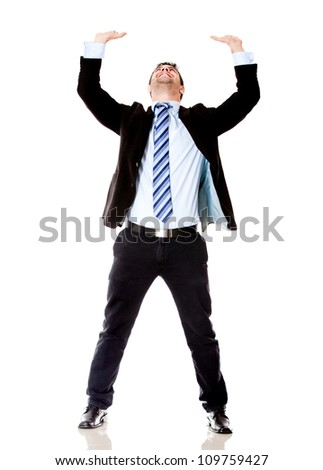 Business man lifting something - isolated over a white backgorund