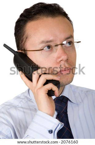 business man on an analogue phone over white