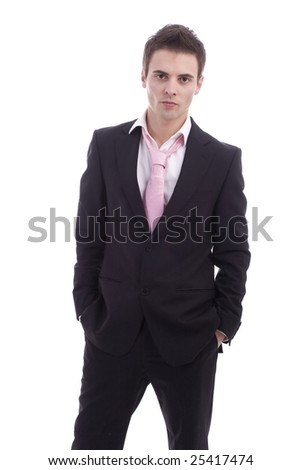 Business man posing isolated over white background