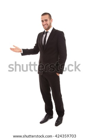 business man presenting and showing with copy space for your text isolated on white background