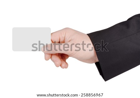 Business man's hand and a card isolated on white background.