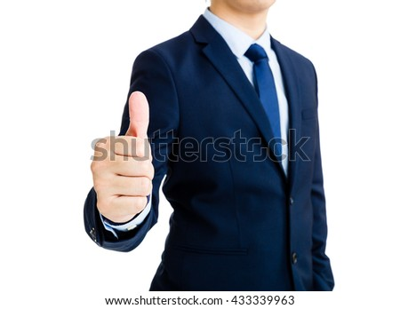 Business man show with thumb up