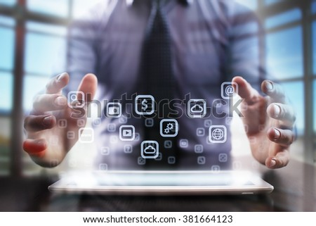 business man using modern tablet computer. business tehnology and internet concept.