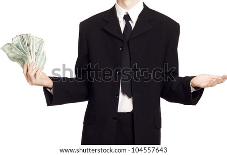 Business man with cash over isolated background