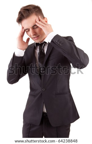 Business man with headache, isolated in white background