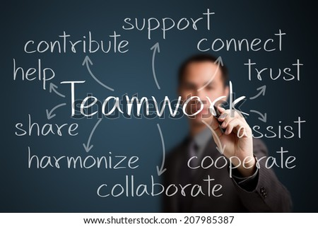 business man writing teamwork concept