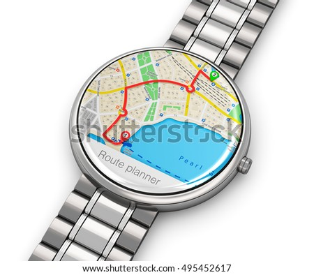 Business mobility and mobile wearable device technology concept: 3D render of stainless steel luxury digital smart watch or clock and GPS wireless navigation application and bracelet isolated on white