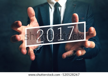 Business opportunity in 2017, elegant businessman with new year entrepreneurship resolutions