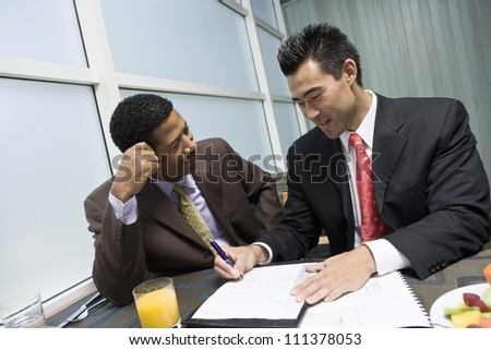 Business partners before signing contract