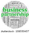 Business partnership concept in tag cloud on white - stock photo