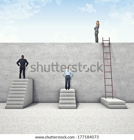 business people and abstract wall problem